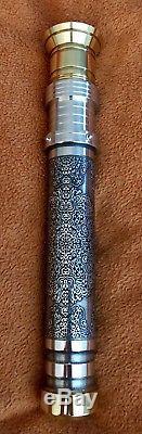 Custom Etched Lightsaber Brass Aluminum GOTH CF8 CEX Revan Saber Hilt RGB LED