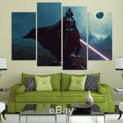 Darth Vader Light Saber Star Wars Movie Framed 4 Piece Canvas Wall Art Painting