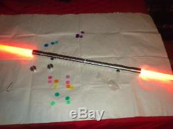 NEW Color Changing Double Blade Lightsaber Staff Darth Maul green yellow purple