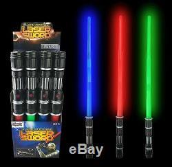 12 Led Pack Laser Épées Expandable Lumière Sabres Star Wars Avec Fx Party Son