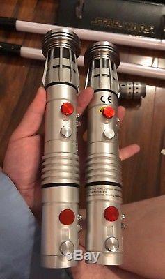 2 X Star Wars Force Fx Sabre Laser Hasbro 2010 Darth Maul Lame Amovible Tpm