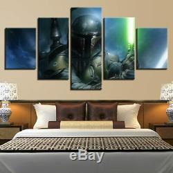5 Panneaux Encadrés Mur De Toile Moderne Boba Fett Star Wars Boba Fett Light Art Hd Imprimer