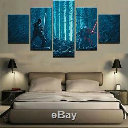 5 Panneaux Encadrés Star Wars Light Saber Double Décor Moderne De Mur De Toile D'impression Hd