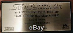 Master Replicas Star Wars Darth Sidious 11 Échelle Lightsaber Limited Edition Coa