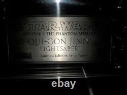 Rare Star Wars Master Replicas Qui-gon Sabre Laser Sw-151le Ap