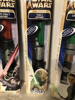 Sabres De Lumière Électroniques Star Wars Darth Vader / Luke Skywalker / Yoda Mib Nouveau