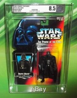 Star Wars Potf Rouge Orange Carte Darth Vader Avec Long Light Saber Afa 8.5
