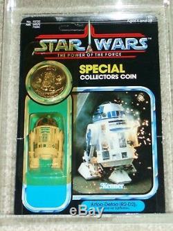 Wars Vintage 1985 Étoiles Kenner Afa 80 R2-d2 Pop-up Sabre Potf Carte Retour Moc